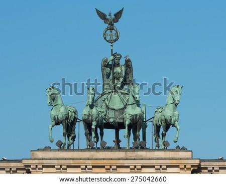 Quadriga on the Brandenburg Gate in Berlin - stock photo