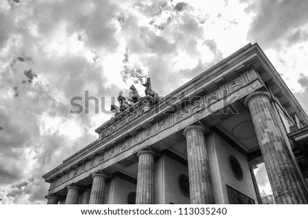 Quadriga sculpture on top of Berlin Brandenburg Gate, Germany - stock photo