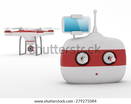 Quadrocopter drone with the camera and Radio remote controller with smartphone preview. - stock photo