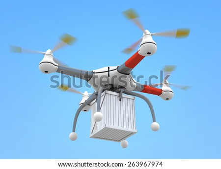 Quadrocopter with load on blue sky - stock photo
