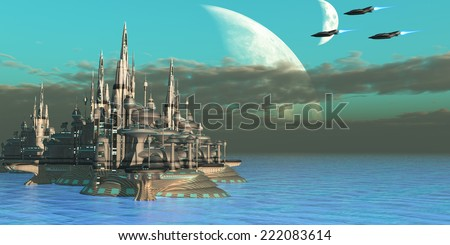 Quadron Sector Planet - Three spacecraft come in to their home planet from a mission out in space. - stock photo