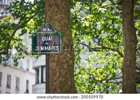 Quai de jemmapes, street sign, Paris France