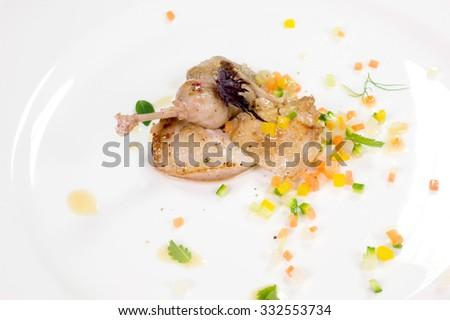 quail baked - stock photo