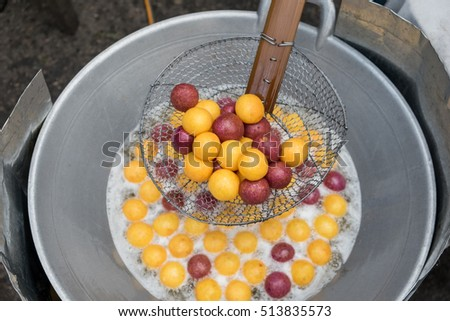 Quail candy eggs, Thai Traditional dessert snack made from cassava flour(tapioca starch) and sweet potato