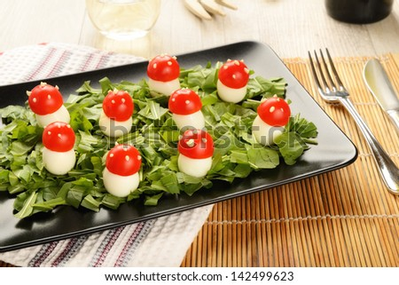 Quail eggs decorated by way of colorful mushrooms