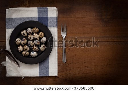 quail eggs flat lay still life rustic with food stylish raw ingredient poultry healthy cholesterol protein vitamin natural rustic low key - stock photo