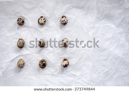 quail eggs flat lay still life with food stylish fresh raw ingredient poultry healthy cholesterol protein vitamin natural rustic  - stock photo