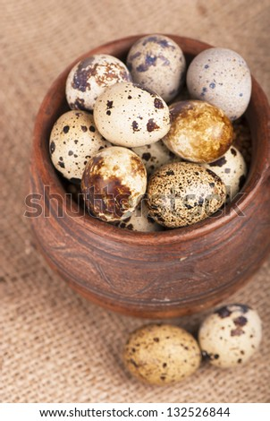 Quail eggs in a jug, a feather on a canvas