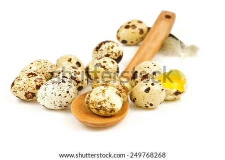 Quail eggs in a wooden spoon isolated on white background