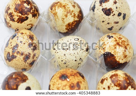 Quail eggs in transparent plastic container, DOF