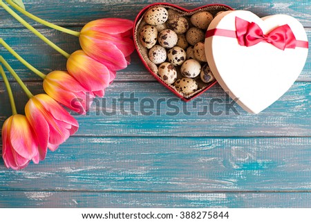 quail eggs lying in a heart shaped box on the texture blue table next to a bouquet of pink tulips, with free space for text
