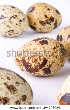 quail eggs on a white background. Food image with space for text