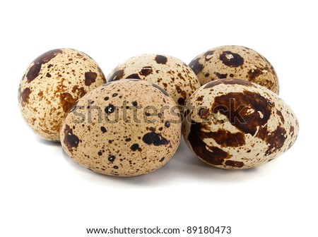 Quail eggs on the white background - stock photo