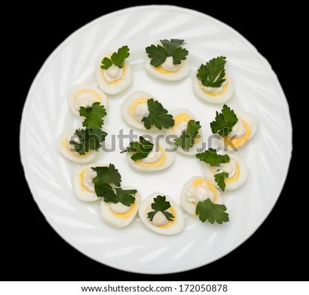 quail eggs with parsley - stock photo