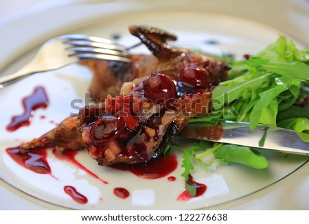 Quail with green and purple salad on white plate - stock photo