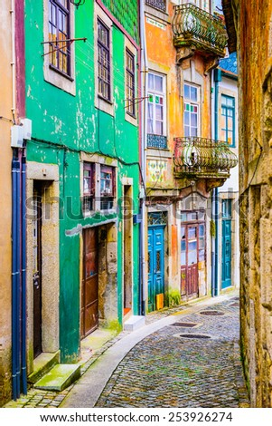 Quaint alleyway scene in Porto, Portugal. - stock photo