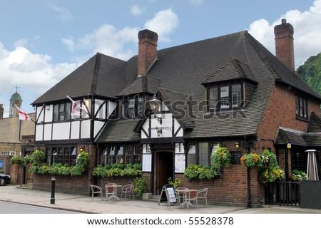 Quaint English pub, Windsor England - stock photo