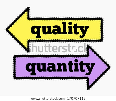 Quality and quantity signs in yellow and purple arrows concept - stock photo