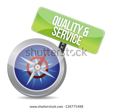 quality and service compass conceptual image on white background - stock photo