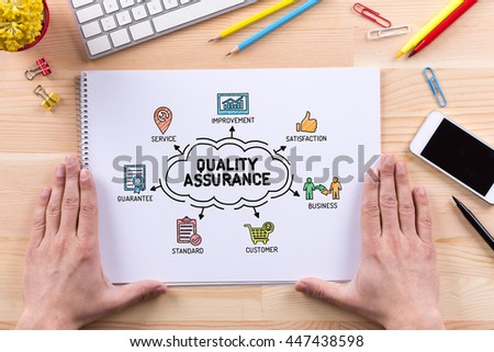 Quality Assurance chart with keywords and sketch icons - stock photo