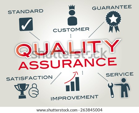 quality assurance- Infographic with Keywords and icons - stock photo
