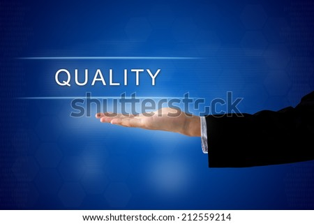 quality button with business hand on a touch screen interface - stock photo