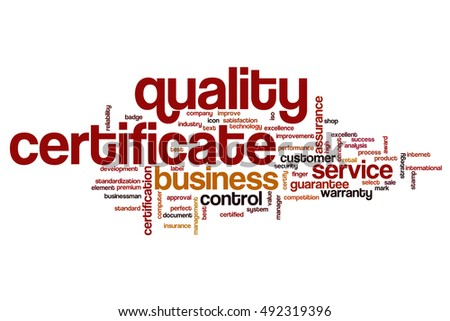 Quality Certificate Word Cloud Concept Stock Illustration 492319396