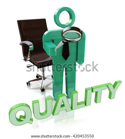 Quality Character Showing Perfection Approval And Excellent in the design of information related to the quality. 3d illustration - stock photo
