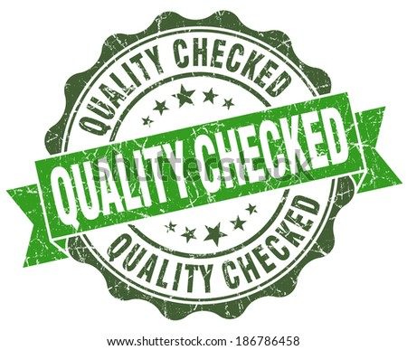 Quality checked green grunge retro vintage isolated seal - stock photo