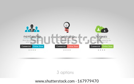 Quality clean web elements for blog and sites. 3 choice menu - stock photo