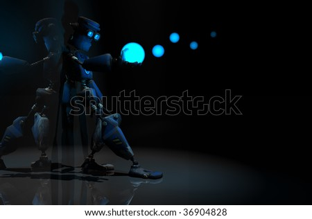 quality 3d render of robot leaning against wall - stock photo