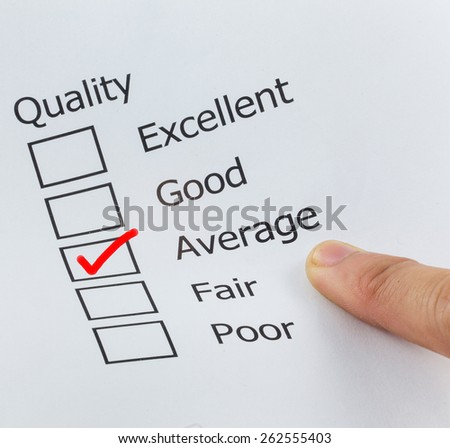 Quality Excellent Good Average Fair Poor check boxes