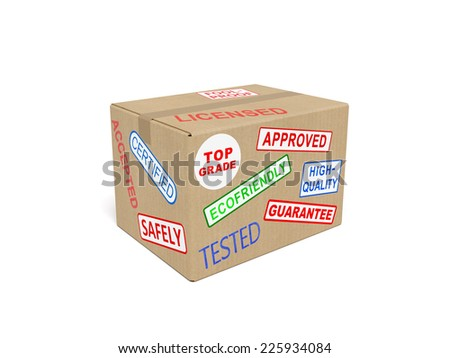 Quality (fine, superior) goods concept: cardboard (carton) box with stickers and stamps as symbol of quality standards, top-end goods and services, successful trade, production of commodities - stock photo