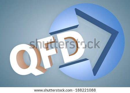 Quality Function Deployment - acronym 3d render illustration concept with a arrow in a circle on blue-grey background - stock photo