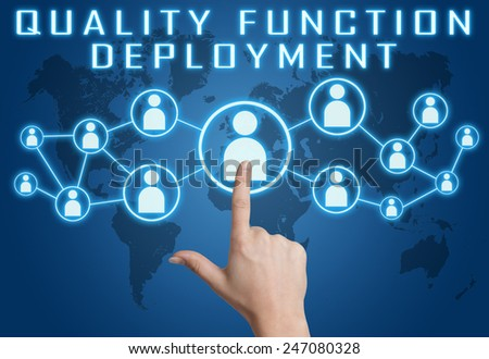 Quality Function Deployment concept with hand pressing social icons on blue world map background. - stock photo