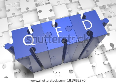 Quality Function Deployment - puzzle 3d render illustration with text on blue jigsaw pieces stick out of white pieces - stock photo