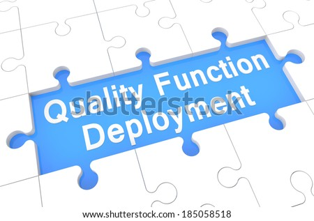 Quality Function Deployment - puzzle 3d render illustration with word on blue background - stock photo
