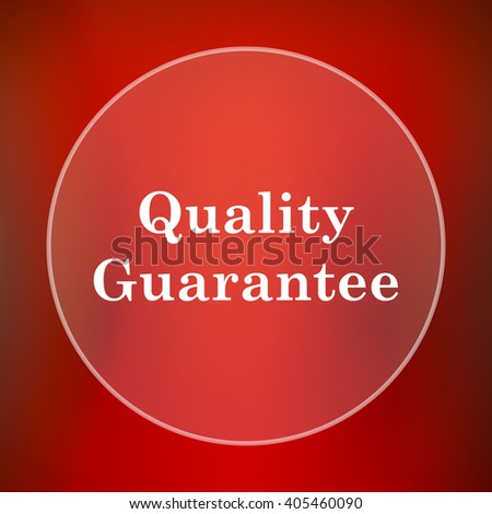 Quality guarantee icon. Internet button on red background.