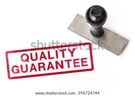 quality guarantee text label stamp for documents.