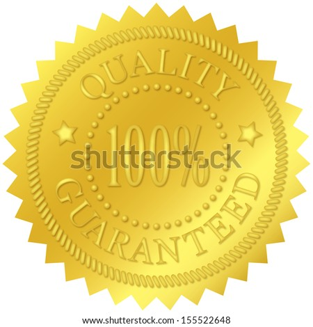 Quality guaranteed gold seal, with embossed decorations - stock photo