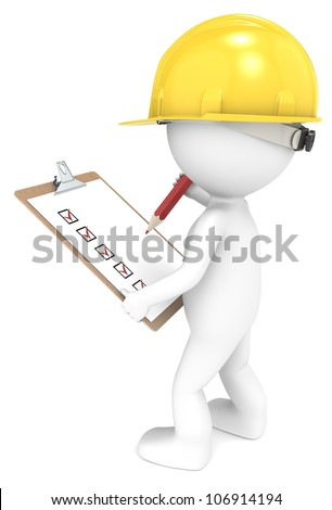 Quality Inspection. 3D little human character The Builder with a clipboard. Back view. People series. - stock photo