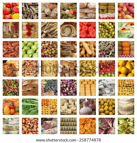 quality italian food collection - group of images from fresh tuscan daily market - stock photo