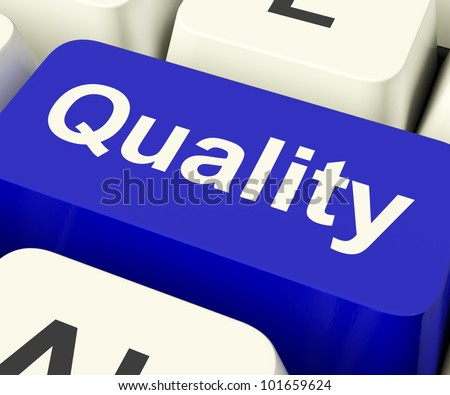 Quality Key Represents Excellent Service Or Products - stock photo