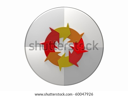 Quality management system plan do check act circle, continuous improvement, isolated on white - stock photo