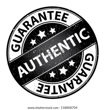 Quality Management Systems, Quality Assurance and Quality Control Concept Present By Authentic Label on Black Grunge Glossy Style Icon With Guarantee Text Around Isolated on White Background  - stock photo