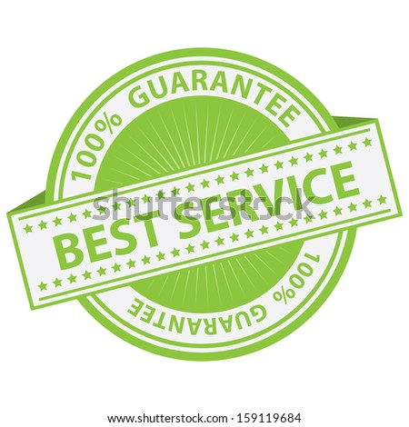 Quality Management Systems, Quality Assurance and Quality Control Concept Present By Green Best Service Label With 100 Percent Guarantee Text Around Isolated on White Background  - stock photo