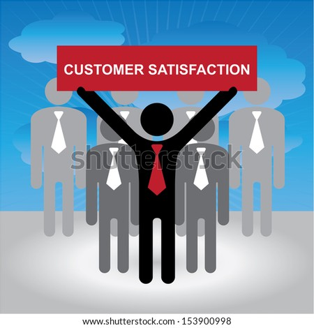 Quality Management Systems, Quality Assurance and Quality Control Concept Present By Group of Businessman With Red Customer Satisfaction Sign on Hand in Blue Sky Background - stock photo