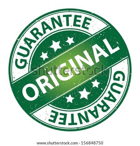 Quality Management Systems, Quality Assurance and Quality Control Concept Present By Original Label on Green Grunge Glossy Style Icon With Guarantee Text Around Isolated on White Background  - stock photo