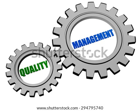 quality management  - text in 3d silver grey metal gear wheels, business CRM concept - stock photo
