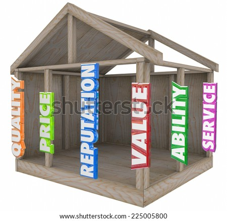 Quality, price, reputation, service, ability, price and value words in 3d letters on the wood frame of a house or home to illustrate a strong foundation of core competencies - stock photo